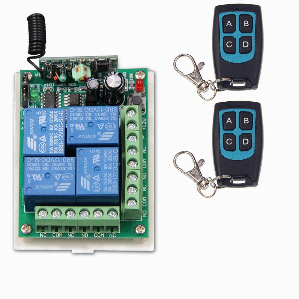 DC 12V 24V 4 CH 4CH RF Wireless Remote Control Switch System,2 X Waterproof Transmitter + Receiver,315/433MHZ<br><br>Aliexpress