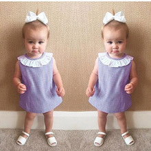 2017 Summer Dress Baby Girls Kids Clothes Vestidos Cotton Puffles Grid Purple Princess Party Dress Fashion Baby Girl Dress
