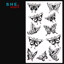 2017 Direct Selling Real Sexy Cool Unisex Black Nontoxic Waterproof Temporary Tattoo Stickers Paster The Butterfly