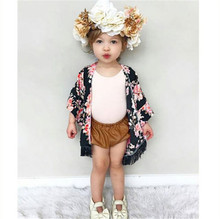 New Floral Children Girls T-shirt Short Sleeve Summer Cardigan Chiffon Clothes Wear Child Kids Toddler Girl Kimono Outfit