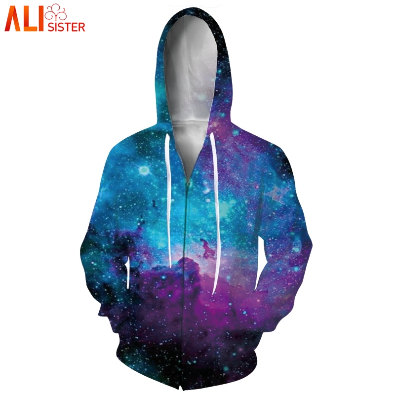 Alisister Galaxy Space Hoodies Sweatshirt 3d Zipper Jacket Coat Men Women Harajuku Autumn Winter Hoody HipHop Tracksuit  Outwear