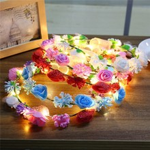 Glowing Wreaths Flower Hairband Crown LED Holiday Light LED Wedding Party Christmas Garland String Light Decoration(China)