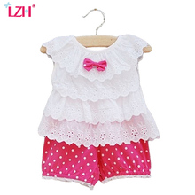 LZH Newborn Clothes 2017 Summer Baby Girls Clothes Lace T-shirt+Shorts 2pcs Kids Girl Outfit Suit Baby Girls Set Infant Clothing