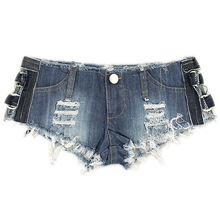 Blue Mini Short Sexy Thong Denim Shorts Female 2018 Spring Summer Short Femme European and American Style Cuissard Hollow Out(China)