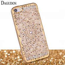 DAGUDON Luxury 3D Gold Glitter Case For iPhone 5 Case Silicone Soft Gel Back Diamond Bling Phone Case For iPhone 5S Case Cover(China)