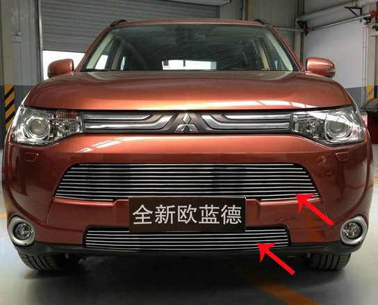 stainless steel Front Grille Around Trim Racing Grills Trim For 2013 Mitsubishi Outlander Samurai<br><br>Aliexpress