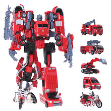 Cool 5 in 1 Combiner Red Mini Transformation Robot Car Defensor Fire Engineering Construction Vehicle Truck Assembly Kid Toy