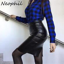 d1d496744af Neophil Plus Size XXXL Faux Leather Women Pencil Skirts 2019 Ladies Vintage  Style Black High Waist Knee-Length Skirt Saia S1104