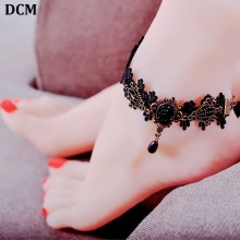 DCM Hot Sale Beach Jewelry Rhinestone black lace Pendant Beads Anklet Foot Leather Chain Ankle Bracelet(China)