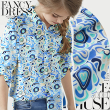 Blue The Danube dress Xia Xiaoqing new silk cotton cloth irregular printing and dyeing T shirt fabric