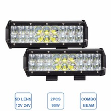 2PCS 5D 90W OFFROAD LED WORK LIGHT BAR 9'' 12V 24V CAR TRUCK SUV BOAT 4WD 4X4 UTE ATV TRAILER TRACTOR PICKPUP DRIVING HEADLIGHT