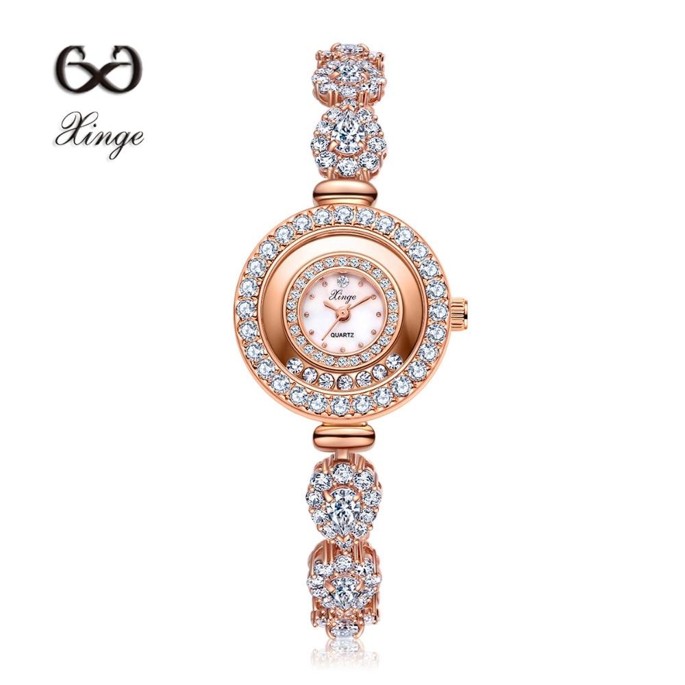 Xinge Brand Zircon Copper Gold New Women Luxury Fashion Wristwatch Gold Rhinestone Quartz Ladies Watch Casual Dress Watches<br>