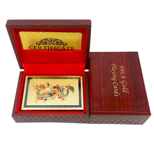Poker Card Gold Foil Plated Playing Cards Texas Hold'em Poker Chinese Style Dragon And Phoenix Gambling Pokerstars With Wood Box