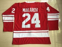 SERGEI MAKAROV Hockey Jersey CCCP RUSSIA Red Ice Hockey Jersey TPETBRK 100% Stitched Size S-3XL(China)