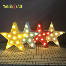 Meaningsfull Unique Yellow/Red/Blue Star Led Night Lights Marquee Wall Lamps For Living Room Coffee Bar Decor Birthday Gifts