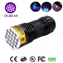 oobest Multi-function Aluminum Alloy Portable 21 LED UV Ultra Violet Flashlight Waterproof Blacklight Invisible Handy Torch(China)