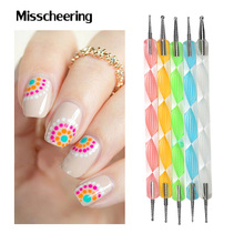 2way Nail Dotting Pen,5pcs/lot Marbleizing Nail Polish Paint Manicure Dot Nail Art Set,DIY Nail Rhinestone Decoration Tools