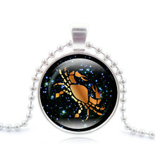 12 Constellation Pendant Necklace Zodiac Art Glass Cabochon Jewelry Accessories Silver Bead Chain Cancer Necklace Women Gift