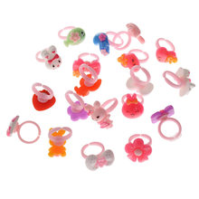50 Pcs/Lots Bulk Mixed Shape Plastic Children Kids Girls Cartoon Animal Flowers Fruit Finger Rings Cute Party Jewelry Gifts