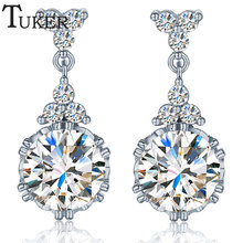 TUKER 2016 New Classic Gold color Circle Drop Earrings With CZ Crystal Jewelry For Women Vintage Bride Earrings Wholesale