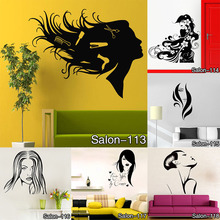 Wall Decal Beauty Salon Manicure Nail Salon Hand Girl Face Vinyl Sticker Home Decor Hairdresser Hairstyle Wall Sticker Free Ship(China)