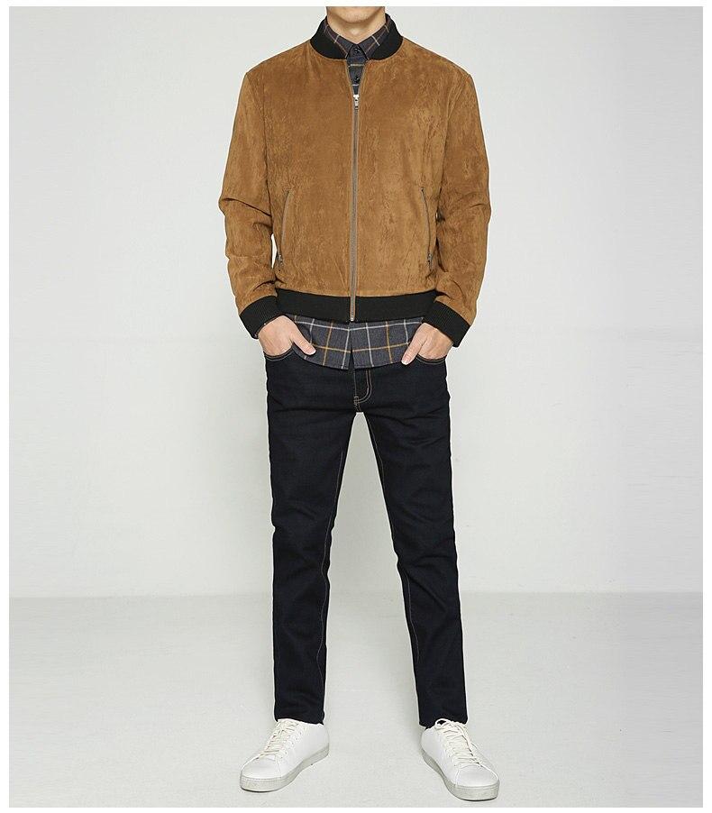 Jacket Men High Quality Autumn Baseball Collar Suede Spring Mens Jacket Coat Male Winter Warm Camel Size M L XL XXL 3XL 2018 New-04