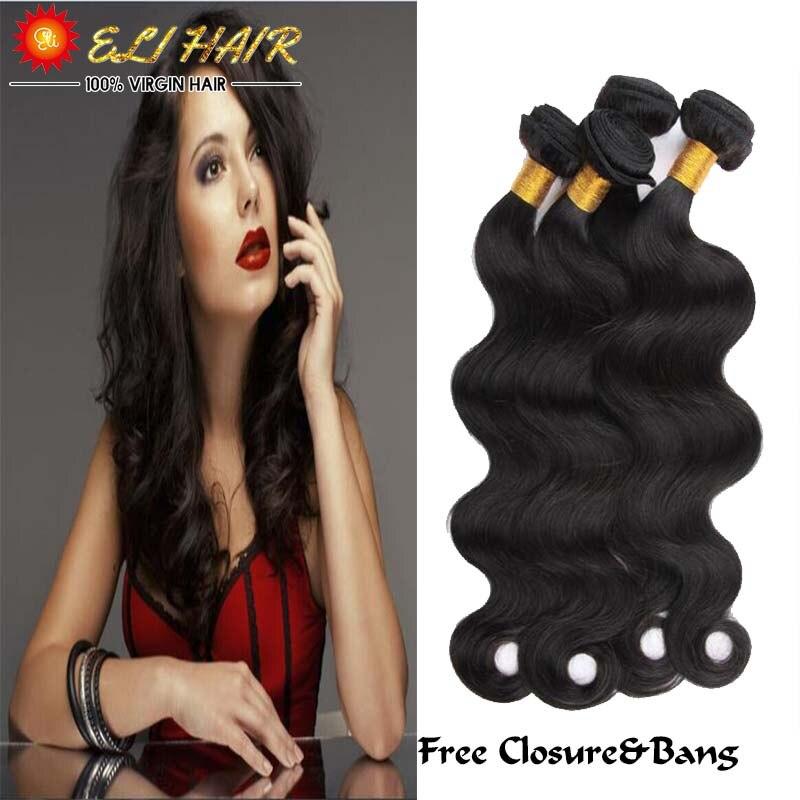 Top 8A Brazilian Body Wave With Closure 4 Bundles 8-26 Mink Brazilian Virgin Human Hair Wave 4 Bundles With Closure And Bang<br><br>Aliexpress