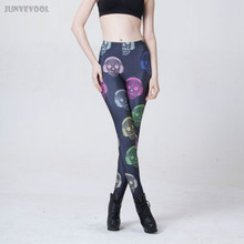 Funky Leggings Women Colorful Headset Skull Print Pencil Skeleton Trousers Fit Pants Bone Skinny Stretchy Fitness Legging New