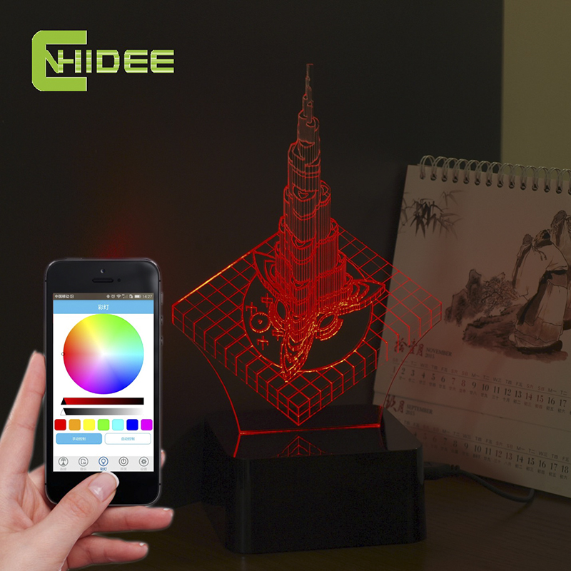 CNHIDEE Creative Gifts USB Music 3D Night Lamp Dubai Khalifa Tower LED Desk Table Nightlights as Home Decor Lampara for Baby<br><br>Aliexpress