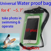 Universal water proof smart phone bag transparent case in swimming diving  for iphone 6 6S 7 plus samsung S6 Note Huawei P9 Plus