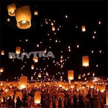 1PCS Romantic Wish Lamp Sky Lantern Chinese Round Kongming Lanterns Fire Sky Fly Candle Lamps for Birthday Wedding Party