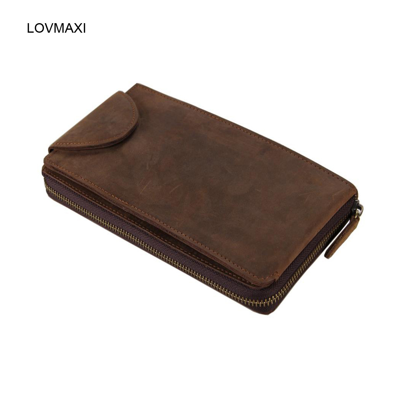 LOVMAXI Mens genuine leather wallets male clutch bag male crazy horse leather clutch bags Men business money clip purse<br>