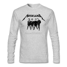 DIY t shirt with  man punk rock Music Metallica Long sleeved 100% Cotton Mens Tees Comic t-shirt