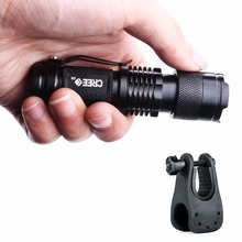 Adjustable Focus Mini Flashlight CREE Q5 2000 Lumens LED Flashlight Torch AA Lantern With Bicycle Torch Mount Clip Holder