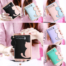 Cartoon Cat Style Purse Fashion Cute Women's Wallet Bifold PU Leather Coin Purse Womens Bag Clutch Hand Bag