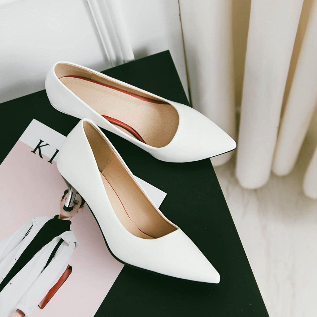 JIXIANGYAZHI 2018 brand patent leather single toe head shallow mouth lady high heels shoes # C-048