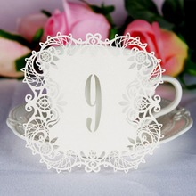 Ourwarm 10pcs/set Wedding Table Number Table Cards Hollow Laser Cut Card Numbers Vintage Wedding Decoration Event Party Supplies(China)