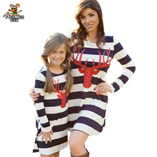 Mother daughter dresses 2017 Autumn Family Matching Outfits for Mother & Kids Children's Clothing Christmas Deer Striped dress