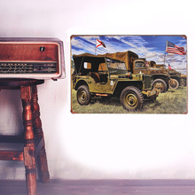 European Retro Military vehicles sign board Wall stickers metal iron crafts pictures Furnishing articles painting draw bar house(China)