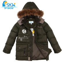 Winter Jaqueta Luxury Brand Boys Winter Jacket With Fur Hood Children Jackets For 6-12 Age Boy SPSHOW Down & Parkas 012(China)