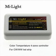 Mi Light 2.4G RF wireless CCT ed dimmer 4Zone remote control Dual White Brightness Adjustable for WW/CW Single Color led strip(China)