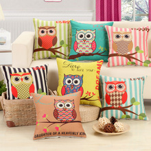 1Pcs Cotton Linen Striped Branch Owl Pattern Throw Pillow Cushion Cover Seat Car Home Decor Sofa Bed Decorative Pillowcase 40108