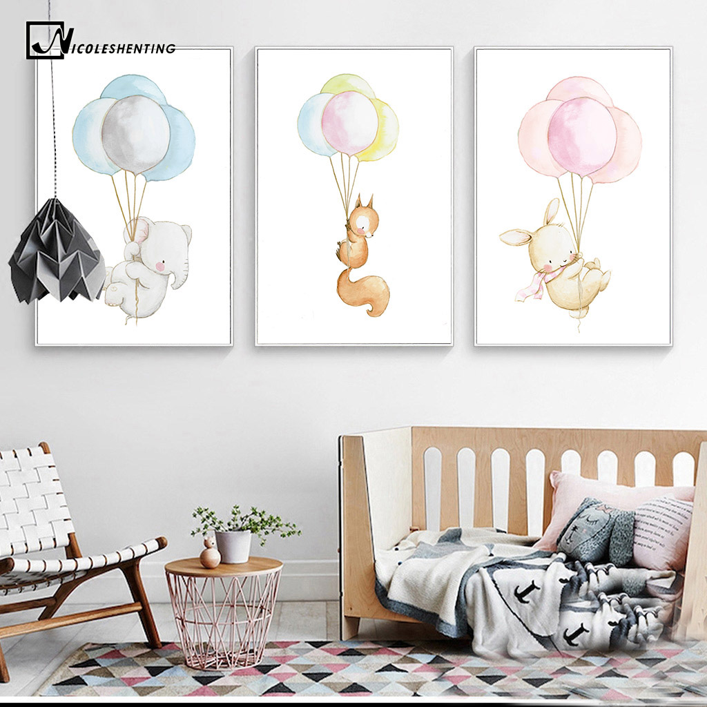 Watercolor Animal Nordic Poster Elephant Rabbit Baloon Canvas Print Wall Art Painting Decorative Picture Baby Room Decoration(China (Mainland))