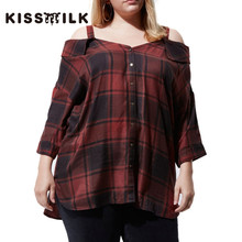 kiss milk autumn plus size western style fashion loose plaid Three Quarter Sleeve 3XL-7XL slash neck woman's Casual Shirt(China)