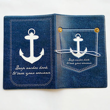 Deep Bule Navy anchor Passport Holder ID Card Holder 3D Design PVC Leather Business Card Bag Passport Cover 14*9.6CM(China)