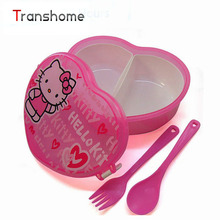 Heart-Shape Cartoon Meal Boxes With Fork Cute Bento Children Box Microwave Cutlery Set Children's Meal box