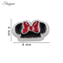20pcs/lot New Zinc Alloy Mouse Ears Charms Cartoon Mickey Floating Locket Charms for Living Memory Locket