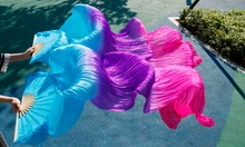 silk veils dance fans high quality Chinese 1 Pair of belly dancing fans silk veils fans Blue + Purple + Rose(China)