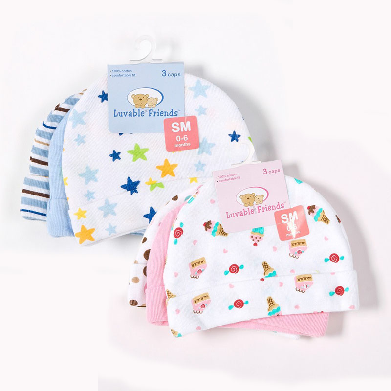 3pcs/lot Baby Hats Luvable Friends Pink/Blue Star Printed Baby Hats &amp; Caps for Newborn Baby Accessories<br><br>Aliexpress