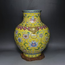 Qing Dynasty Heavy Pastel Outline in gold Interlocking Flowers Bottle  elaborately hand-work  home decoration  collection